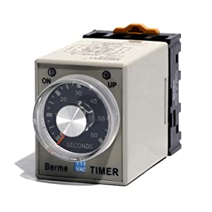 8P Terminals 0-60 Seconds Time Range AC 110V AH3-3 Time Delay Relay with Base PF083A (Tamaño: 60S)