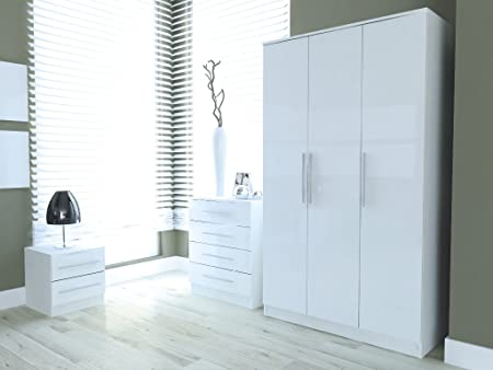 New Ontario Ice White High Gloss & Ash Effect Frame 3 Piece Bedroom Set Robe Chest & Bedside