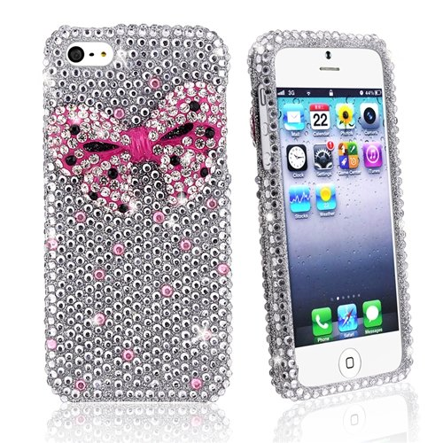Special Sale eForCity Snap-on Case Compatible with Apple iPhone 5, Full Diamonds with 3D Pink Bow Tie