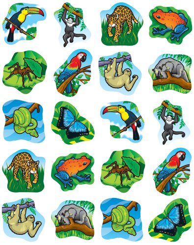 Carson Dellosa Rainforest Animals Shape Stickers (5267)
