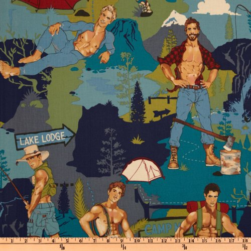 Pin Ups The Outdoorsy Type Teal Fabric By The Yard (Type Fabric compare prices)