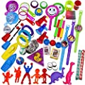 100 Piece Toy Assortment Stocking Stuffers (Includes: Wall Climbers , Glitter Megaphone Whistles , Miniature Playing Cards , Mini Cups and Ball Games , Plastic Bathtub Boats, Metal Police Badges , 3'' Parachutes , Yo Yo's , Rings, Finger Traps , and Other