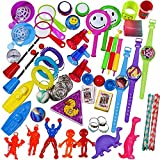 100 Piece Toy Assortment Stocking Stuffers (Includes: Wall Climbers , Glitter Megaphone Whistles , Miniature Playing Cards , Mini Cups and Ball Games , Plastic Bathtub Boats, Metal Police Badges , 3 Parachutes , Yo Yos , Rings, Finger Traps , and Other Small Toys for Party Favor Bags, Piñata, Carnival Prizes, or School Classroom Rewards)