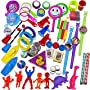 100 Piece Toy Assortment Stocking Stuffers (Includes: Wall Climbers , Glitter Megaphone Whistles , Miniature Playing Cards , Mini Cups and Ball Games , Plastic Bathtub Boats, Metal Police Badges , 3'' Parachutes , Yo Yo's , Rings, Finger Traps , and Other Small Toys for Party Favor Bags, Pi�ata, Carnival Prizes, or School Classroom Rewards)