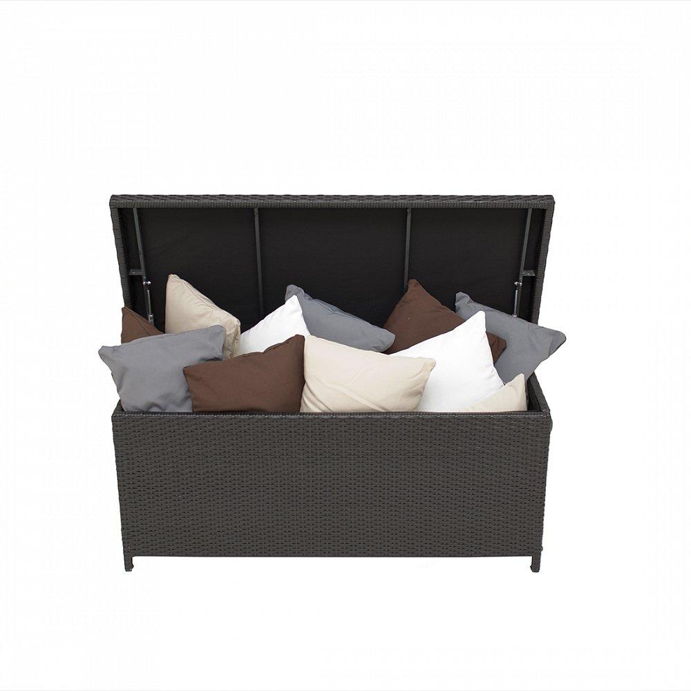 Rattantruhe Braun - Rattan Kissenbox - Auflagentruhe - Auflagebox 130 cm - Gartenmöbel - MODENA