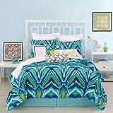 Trina Turk 3-Piece Peacock Comforter Set, King, Blue