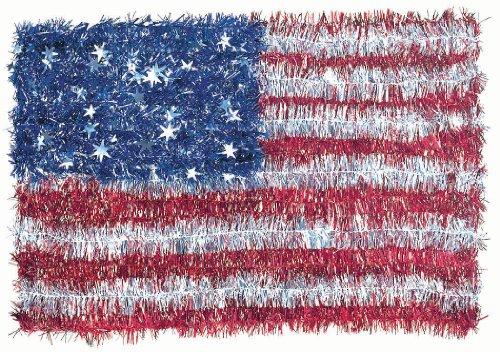 """American Flag Tinsel Wreath, 12"""" x 18"""""""