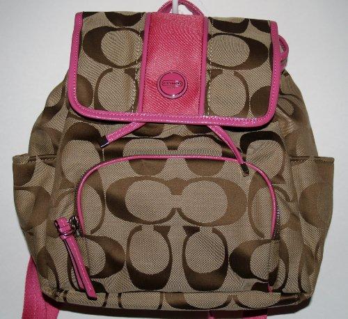 Coach Signature Stripe Backpack 21928 Khaki Mulberry