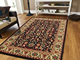 Black Traditional Rugs 5x7 Allover Pattern Persian Rugs 5x8 Area Rug 5 by 7 Clearance under 50