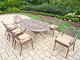 Oakland Living Mississippi 9-Piece Antique Bronze Dining Set with 84 by 42-Inch Oval Table and 8 Cushioned Chairs All Cast Aluminum on Frames