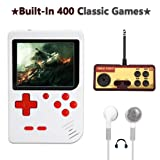 AKTOUGST Handheld Game Console, Retro Game Console 400 Classic Game FC System Video 3 Inch with Headphone Portable Mini Extra Joystick Controller Support TV 2 Player,Gift for Children Adult, (White) (Color: White)