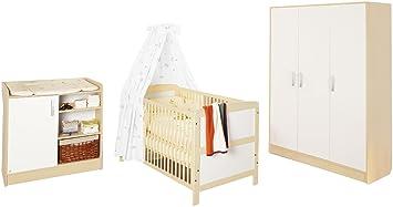 Pinolino 100095G - Florian Kinderzimmer groß, bestehend aus dreiturigem Schrank, Wickelkommode und Bett (ohne Textilien)
