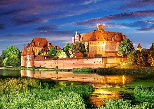Puzzle 1000 Teile - Schloß Marienburg in Polen - Malbork Castle - Ordensburg bei Danzig Nogat - Landschaft Schlößer Burg Backsteinbau Marienkirche