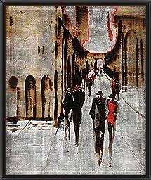 29in x 33in City Scene IV by Elena Radzetska - Black Floater Framed Canvas w/ BRUSHSTROKES