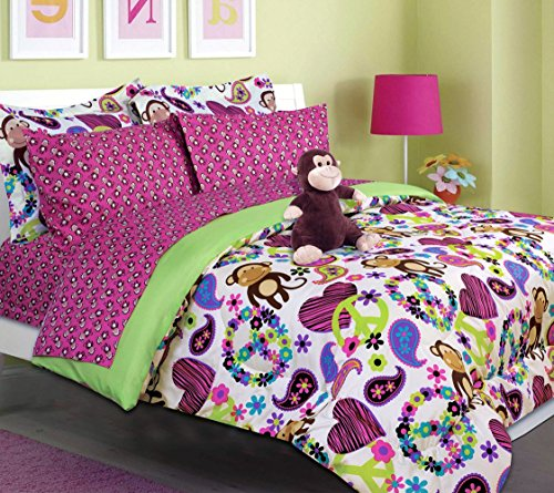 teen tween girls kids bedding fabian monkey bed in a bag twin and full size comforter set. Black Bedroom Furniture Sets. Home Design Ideas