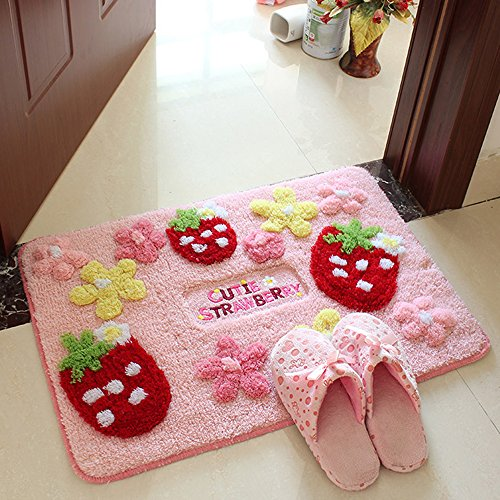 E.a@market Lovely Strawberry Bedroom Floor Mats Non-slip Mat Cartoon Carpet