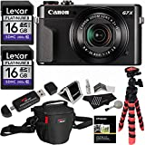 Canon PowerShot G7 X Mark II Camera, Ritz Gear Case, Ritz Gear Tripod, Lexar 16GB 200x 2 Pack, Polaroid Cleaning Kit, Card Reader, Polaroid Screen Protector, Memory Card Wallet and Accessory Bundle