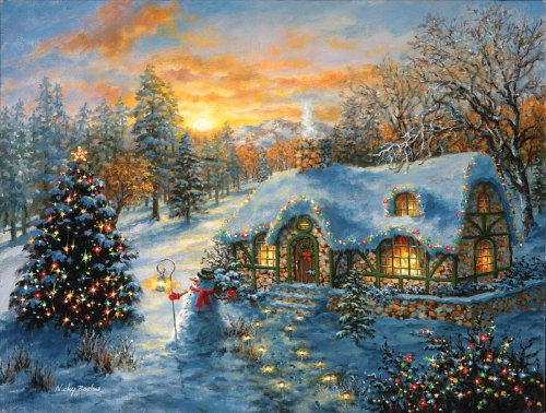 Christmas Cottage a 500-Piece Jigsaw Puzzle by Sunsout Inc.
