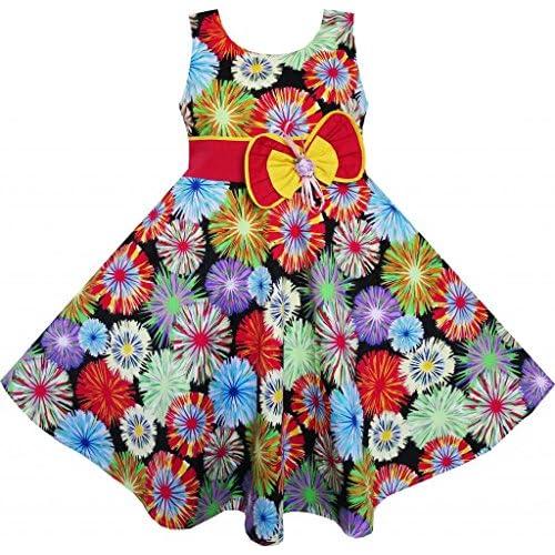 FC35 子供ドレス 子どもドレス カラフル デイジー ボウ ダンス ビーチ 140cm