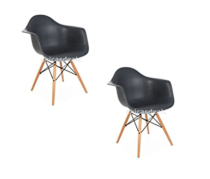 Set of 2 Mid Century Modern Eames Style DAW Gray Armchair with Dowel Wood Eif...