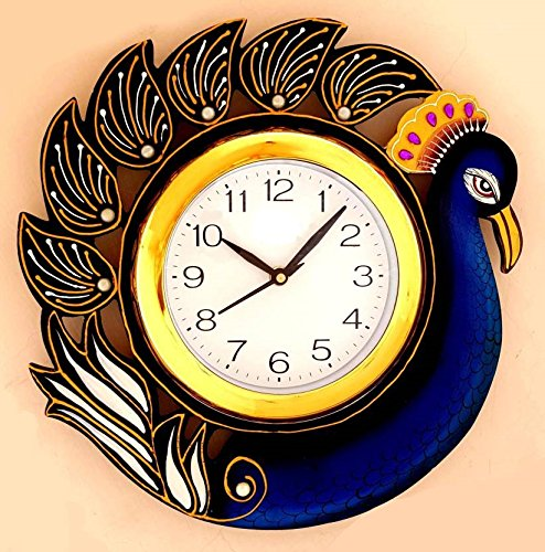 JaipurCrafts Beautiful Wooden Peacock Emboss Painting Wall Clock (Multicolor) (12 IN X 12 IN)