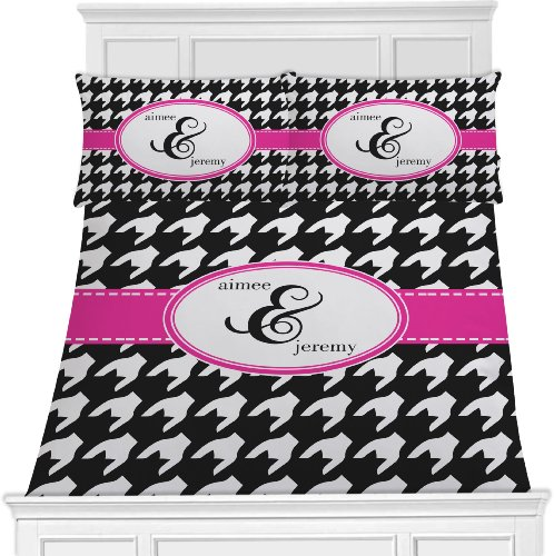 Houndstooth W/Pink Accent Bedding Set (Personalized) - Toddler front-647171
