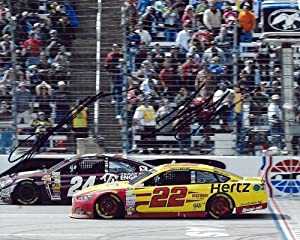 Buy 2X AUTOGRAPHED 2014 Jeff Gordon & Joey Logano TEXAS MOTOR SPEEDWAY (Texas A&M) 8X10 SIGNED NASCAR Photo w  COA by Trackside Autographs