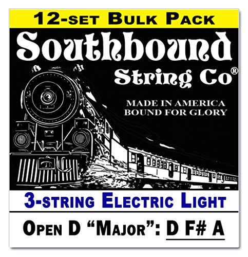 """12-Pack Electric """"Light"""" 3-String Cigar Box Guitar Strings - Open D Tuning - D F# A"""