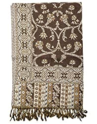 Beautiful Viscose Stole Brown 80x40 Paisley Self Weaved shawl By Rajrang