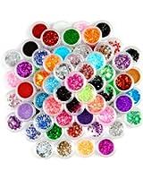 Lot de 80 pots de paillette bijoux ongles gel deco glitter