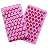 CIMERAC Silicone Mold Mini Heart Shape Silicone Ice Cube Molds Trays/Chocolate Mold Pink Set of Two (Color: Pink)