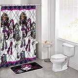 14 Pieces Monster High Bath Set Bathroom Mat Peva Shower Curtain and Hooks