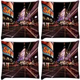 Snoogg New York Street Pack Of 4 Digitally Printed Cushion Cover Pillows 18 X 18 Inch