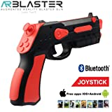 AR BLASTER Augmented Reality 360° VR Portable Gaming Gun: Wireless Bluetooth Controller Toy Pistol for iOS iPhone and Android Smartphone   FREE App 35+ Games Action & Lerning, w/Joystick (RED) (Color: Red)