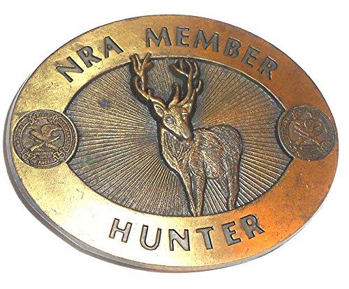 Vintage Brass NRA Member Hunter Embossed Whitetail Deer Belt Buckle
