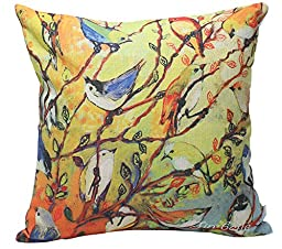 Jinbeile 18 X 18 Inch Cotton Linen Throw Pillow Cover Oil Painting 16 Birds and Tree Cushion Case Home Decorative Pillowcase