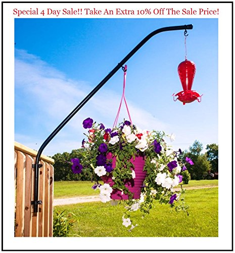 4 Day Sale!! Original Extended Double Hook Swinging Plant & Bird Feeder Arm 36