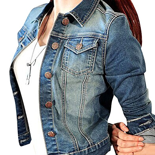 SaiDeng Donna Giacca Breve Manica Lunga Giacca Di Jeans S