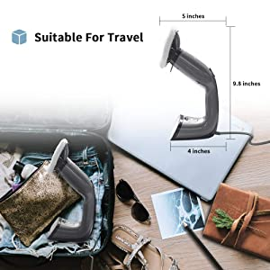 LIGHT 'N' EASY Garment Steamer 2 in 1 GS700 Steam Cleaner Size Instant Fast Heat-Up for Home and Traveling, with Round Brush for Cleaning, Grey