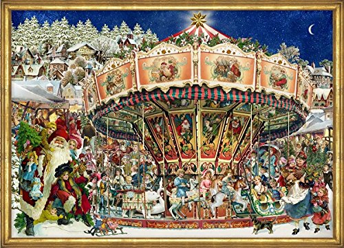 Victorian Carnival Merry-Go-Round German Advent Calendar with Santa