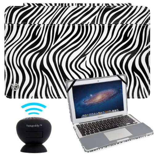 Vangoddy Laptop Mary - Pro City Book Portfolio Cover Case Black White Zebra Fits Apple Macbook Air 11 Inch + Black Mini Suction Bluetooth Speaker W/ Microphone