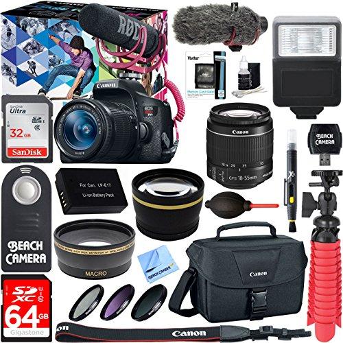 Canon-EOS-Rebel-T6i-Digital-SLR-Camera-Video-Creator-Kit-18-55mm-Zoom-Lens-Rode-Video-Mic-32GB-64GB-SDXC-Memory-Bundle-Pro-Wide-Angle-Lens-2x-Telephoto-Lens-Converter-Extra-BatteryDSLR-Bag