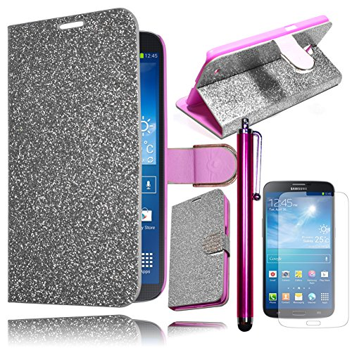 Bastex Hybrid Silver Glitter Leather Wallet Flip Case Defender Pu Cover For Samsung Galaxy Mega 6.3 I527 **Includes Screen Protector And Stylus** front-469455