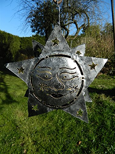 Hanging Metal Tea light Candle Holder Garden Lantern - Silver Star Sun Face Tealight