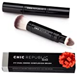 Premium Double Ended Retractable Kabuki Makeup Brush - Synthetic Vegan Cruelty Free Bristles - For Loose Powder Cream and Liquid Make Up - Travel Set