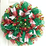 Baubles and Balls Handmade Deco Mesh Christmas Wreath