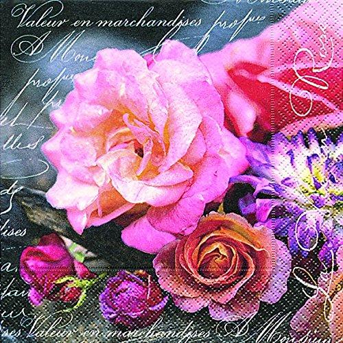 40Serviettes Cocktail Rose Rose (la vie en rose) 1/4plié. 3plis dimensions ouvert: 25x 25