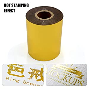 2 Rolls Gold Hot Foil Stamping Paper 3 x 400ft PU Heat Transfer Anodized Gilded Paper for Hot Foil Stamping Machine (3 inch, Gold + Gold) (Color: Gold + Gold, Tamaño: 3 inch)