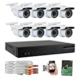 GW Security 8-CH HD-TVI 720P Complete Security System with (8) x True HD 720P IR Indoor CCTV Security Cameras and 500GB HDD