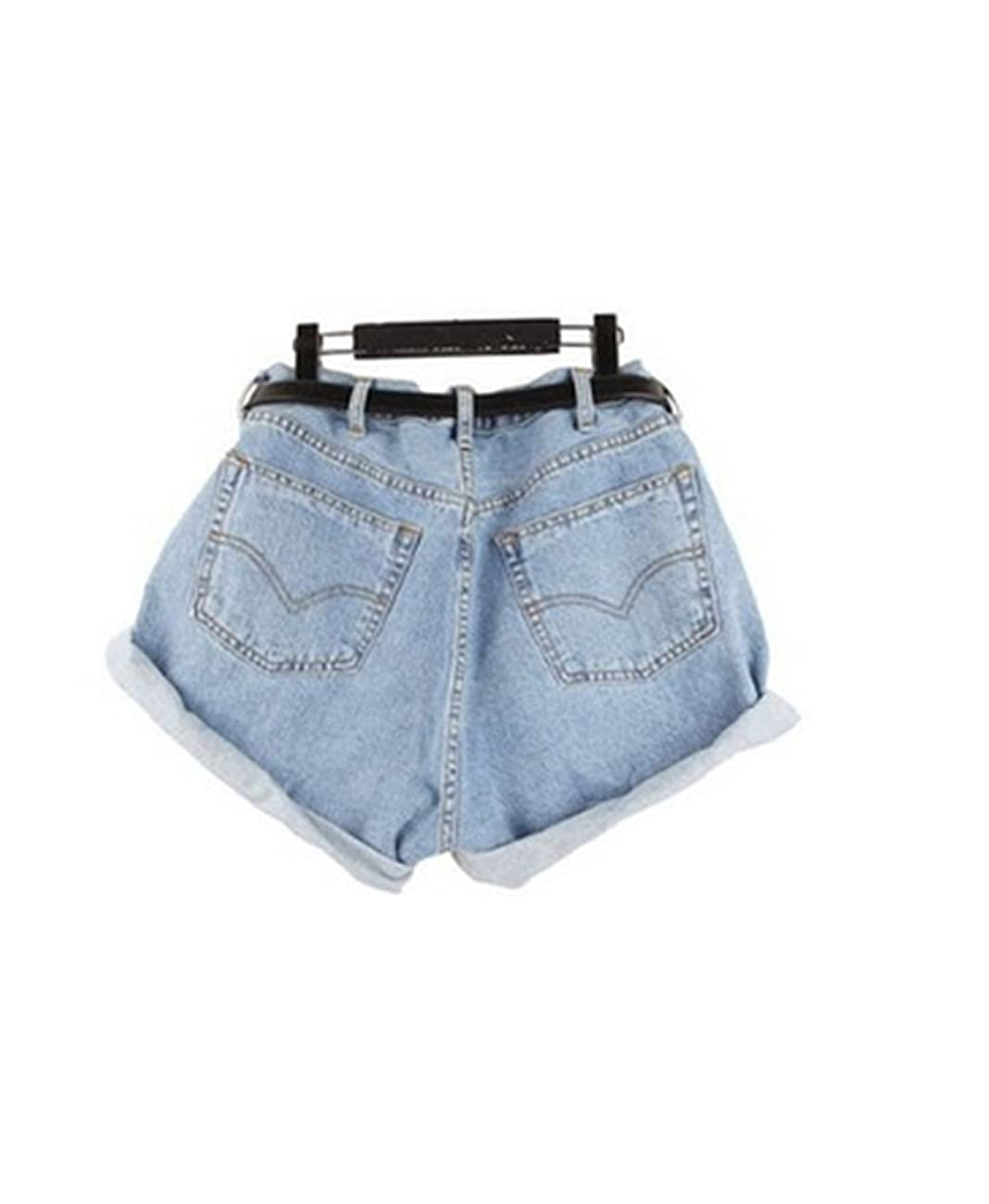 Lady Women Retro Girl High Waisted Oversize Crimping Boyfriend Jeans Shorts Pant 0